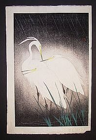 Japanese mid 20th century Hashimoto Koei heron print