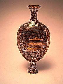 Japanese Meiji Period Komai Iron Vase with Gold Inlays