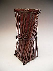 Japanese E. 20th C. Bamboo Flower Basket by Kyokushu