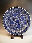 Japanese E. 19th C. Blue and White Gourd Design Charger