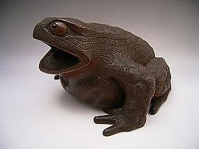 Japanese Meiji Period Large Wooden Carving of Frog