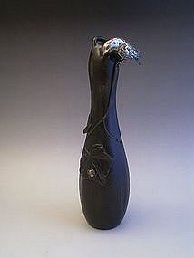 Japanese Meiji Era Bronze Gourd Shaped Vase With Bird