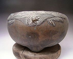 Japanese Early 20th Century Bronze Phoenix Hibachi