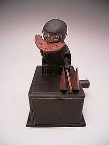 Japanese Circa 1900 Kobe Toy of Man Eating Watermelon