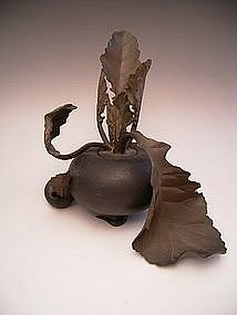 Japanese E. 20th C. Bronze Turnip Incense Burner