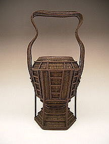 Japanese Circa 1900 Finely Woven Basket by Chikuyusai
