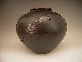 Japanese E. 20th Century Bronze Koi Vase by Shihou