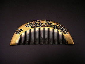 Japanese Meiji Period Gold Lacquer Comb