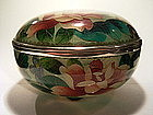Japanese 20th C. Plique a Jour Flower Design Box & Lid