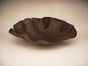 Japanese Meiji Period Iron Lotus Leaf Serving Bowl