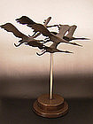 Japanese Mid 20th C. Bronze Sculpture of Flying Cranes