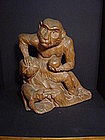 Japanese Early 20th Century Carved Monkey by Suiun