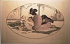 "Japanese Woodblock Print - ""Baby Talk"" by Helen Hyde"