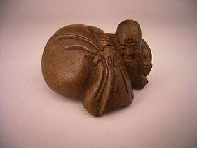 Japanese 19th Century Wood Netsuke of  Fukurokuju