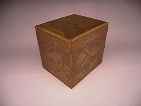 Japanese Late Edo Period Lacquer Compartment Box