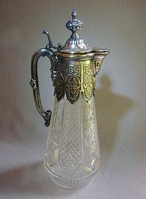 Cut Glass Claret Jug/Ewer Silver Mounts - Germany