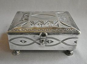 Hand Stamped NAVAJO Silver Lidded Box