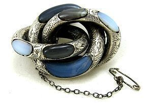 Scottish Agate & Silver Brooch