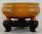 "10"" Dia Chinese Qing Amber Tripod Incense Burner Censer"