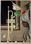Japanese Woodblock Print Tadashi Nakayama Girl Trumpet
