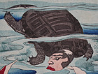 Japanese Woodblock Print Triptych - Chikanobu Turtles