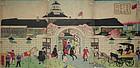 Japanese Yokohama Woodblock Print Triptych Yoshitora