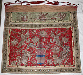 Chinese Qing Silk Embroidered Temple Altar Textile