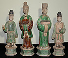 Four Chinese Ming Pottery Tomb Funerary Attendant