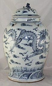 Huge Chinese Qing Blue & White Temple Jar Dragons