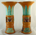 Pair Tall Chinese Republic Susancai Vases Qianlong Mark