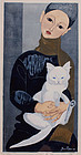 Japanese Woodblock Print Jun'ichiro Sekino Boy With Cat