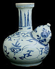 Chinese Ming Wanli Blue and White Porcelain Kendi