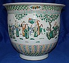 Massive Qing Chinese Famille Rose Jardiniere Cache Pot