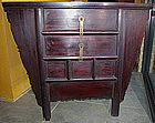 Chinese Qing Lacquered Elm Wood Two-Drawer Coffer Chest