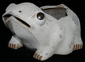 "Large Chinese Qing Ceramic Monochrome ""Ha Ma"" Toad Frog"