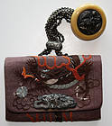 Japanese Tobacco Pouch Sagemono Ivory Netsuke Dragon