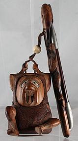 Japanese Meiji Sagemono Wood Tobacco Pipe Set Tonkotsu