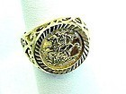 Gold Over Silver St. George and the Dragon Ring