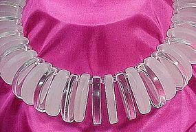 Sobral Clear Resin Half Moon Necklace - Never Worn!