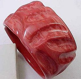 Wide French Resin Coral Bangle