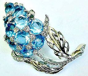 Reja Electric Blue and Clear Rhinestone Brooch