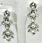 Bogoff Clear Rhinestone Dangle Earrings
