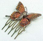 Enameled Butterfly Hair Piece