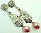 "Fabulous Pink and Silver Colored Earrings - 5"" Long"