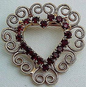 Red Rhinestone and Filigree Heart Pin