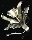 Lightweight Silver Colored Orchid Brooch