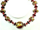 Large Clunky Wood and Glass Bead Necklace