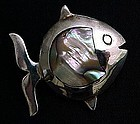 Small Mexican Silver and Inlaid Abalone Fish