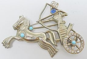 1940s Pot Metal Warrior and Chariot Brooch