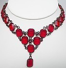 Art Deco Style Bright Red Glass Necklace